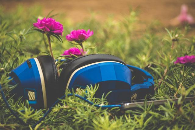 花とヘッドホン