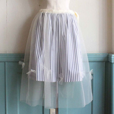 GATHER SKIRT WITH TULLE APRON
